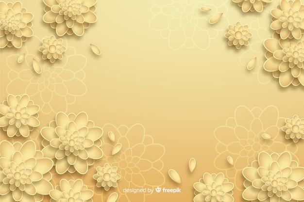 Gouden bloemachtergrond in 3d stijl Gratis Vector