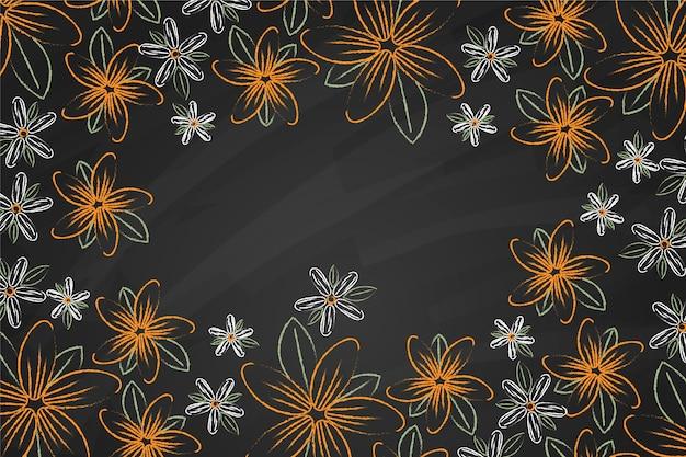 Gouden bloemen op bordachtergrond Gratis Vector
