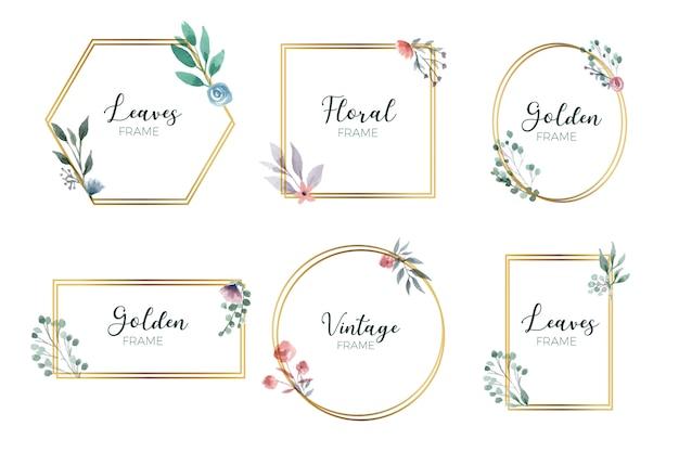 Gouden bloemenframe-collectie Gratis Vector