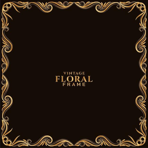 Gouden bloemenkader elegant sierontwerp Premium Vector
