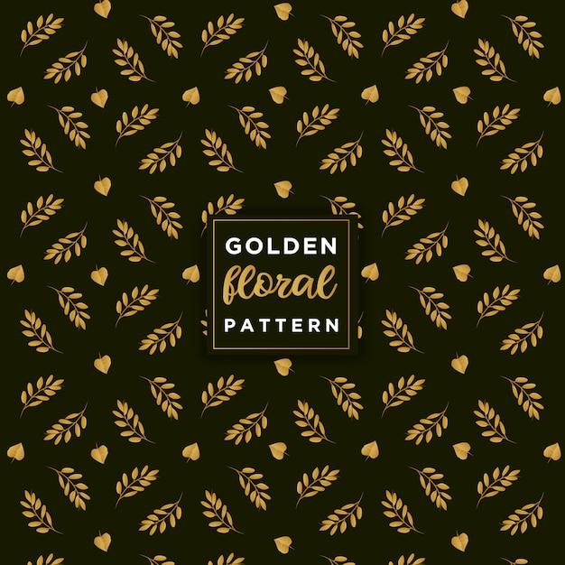 Gouden bloemmotief Premium Vector