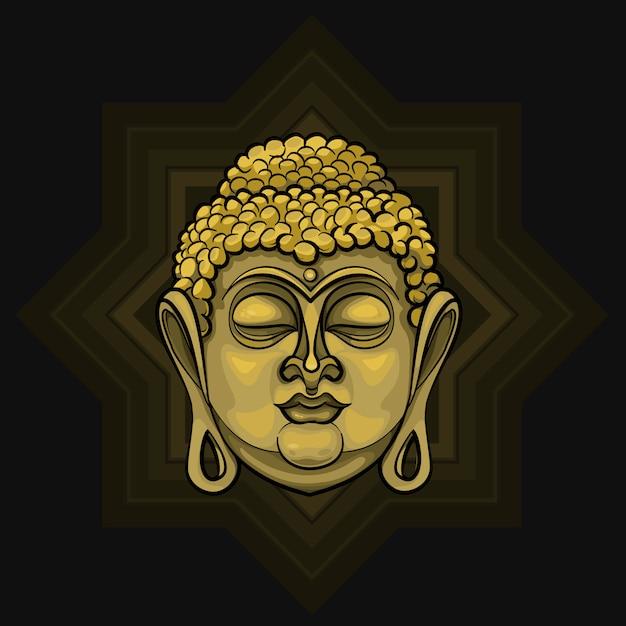 Gouden boeddha die licht uitstraalt Premium Vector