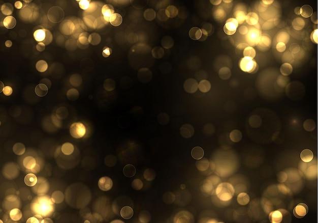 Gouden bokeh wazig licht op zwarte achtergrond. gouden lichten vakantie sjabloon. abstracte glitter intreepupil knipperende sterren en vonken. Premium Vector