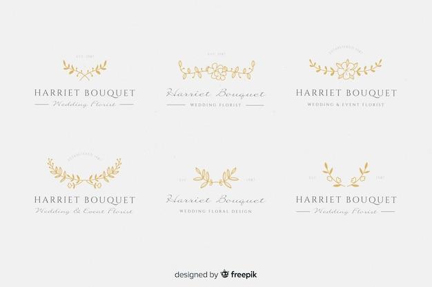 Gouden bruiloft bloemist logo's Gratis Vector
