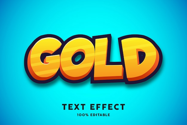 Gouden cartoon teksteffect, bewerkbare tekst Premium Vector