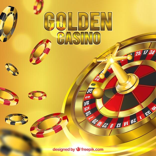 Gouden casino achtergrond Gratis Vector