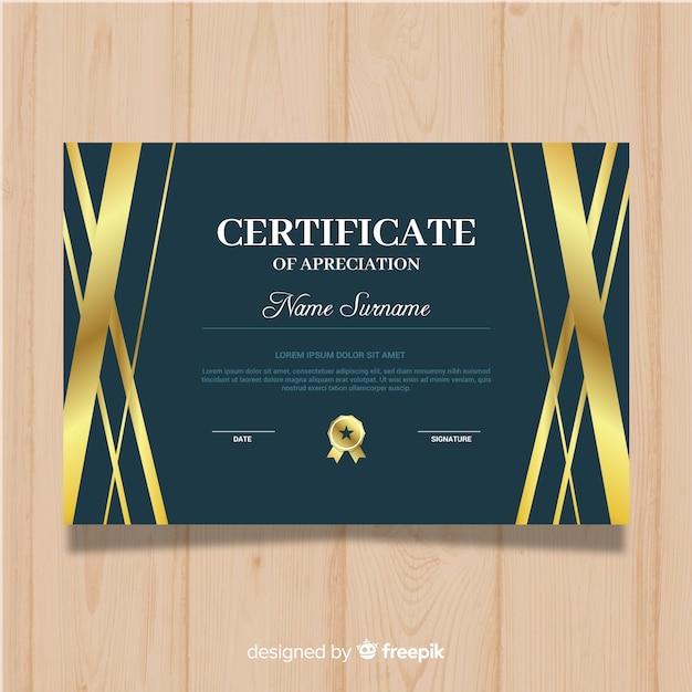 Gouden certificaat van waardering Gratis Vector