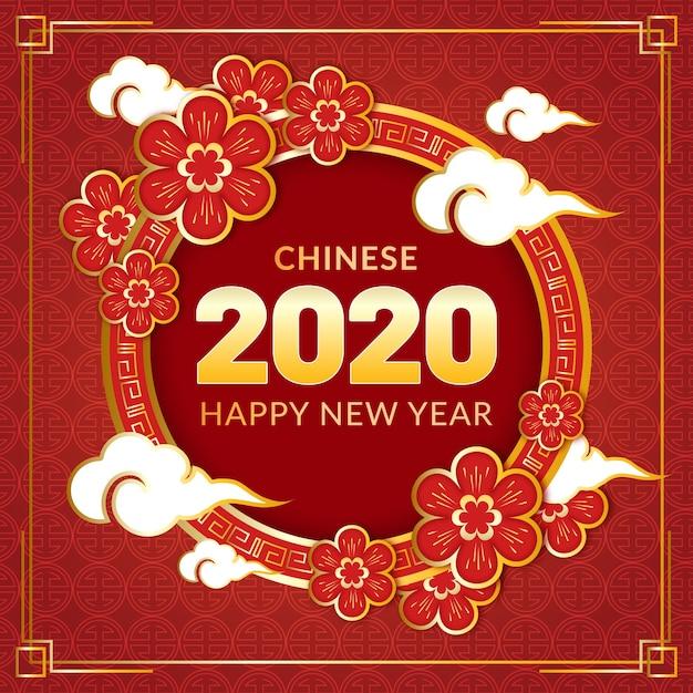 Gouden chinees nieuw jaarconcept Gratis Vector