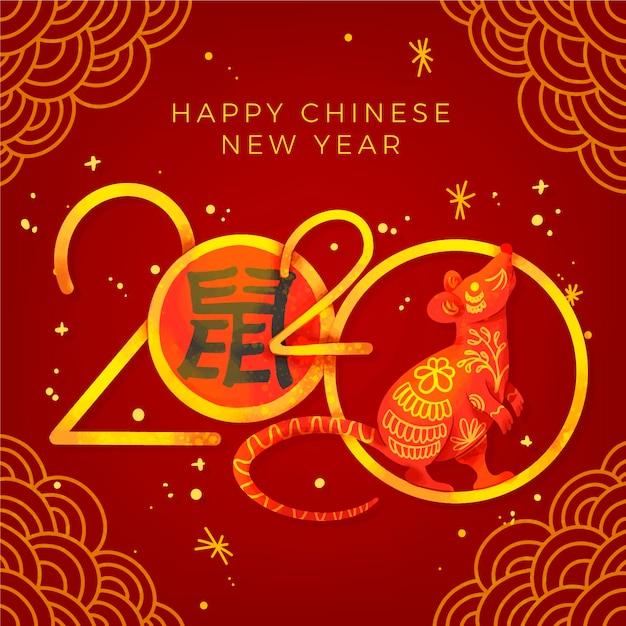 Gouden chinees nieuwjaarconcept Gratis Vector