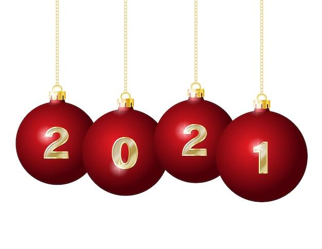 Gouden cijfers op rode kerstballen opknoping op gouden kettingen Premium Vector