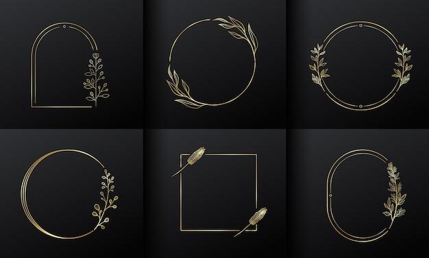 Gouden cirkelframe bloem Gratis Vector