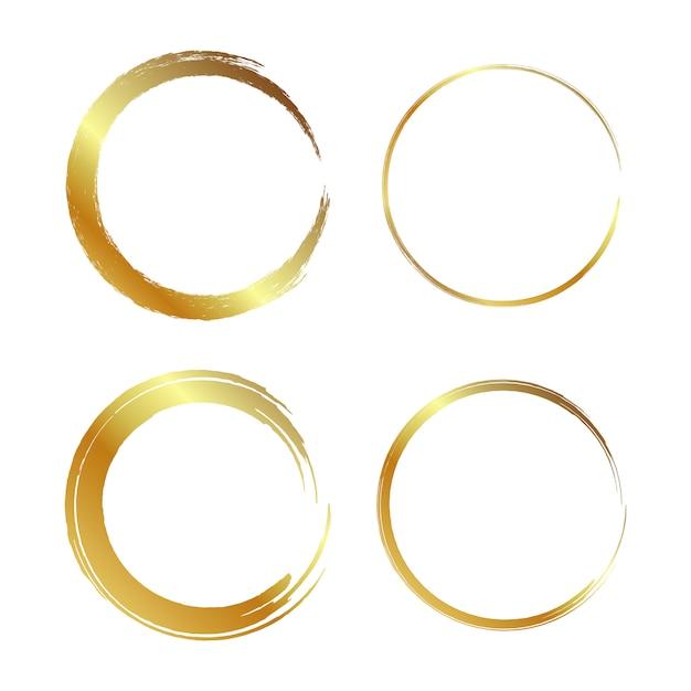 Gouden cirkelframe, handgetekende gouden cirkel Premium Vector