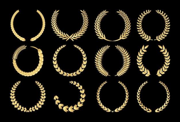 Gouden cirkelvormige bladerrijke laurier en tarwe Premium Vector