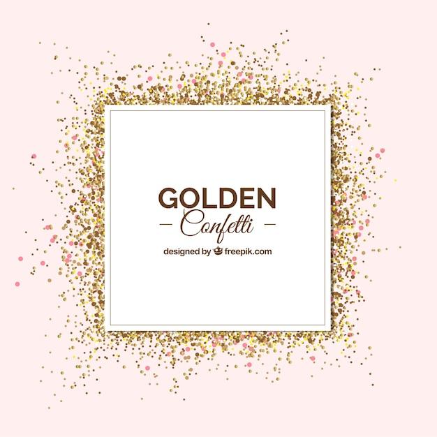 Gouden confetti achtergrond in realistische stijl Gratis Vector