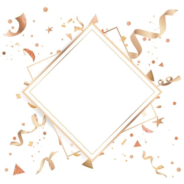 Gouden confetti feestelijke ontwerp Gratis Vector