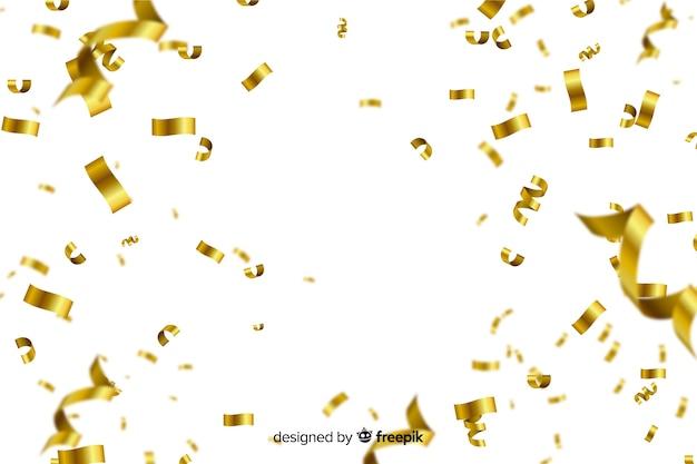 Gouden confetti op witte achtergrond Premium Vector