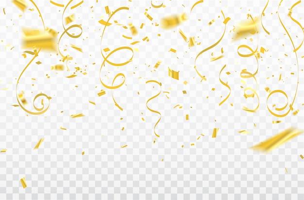 Gouden confetti viering carnaval linten. luxe groet rijke kaart. Premium Vector