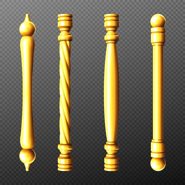 Gouden deurklinken, kolom en gedraaide knoppen staafvormen geïsoleerd op transparant Gratis Vector