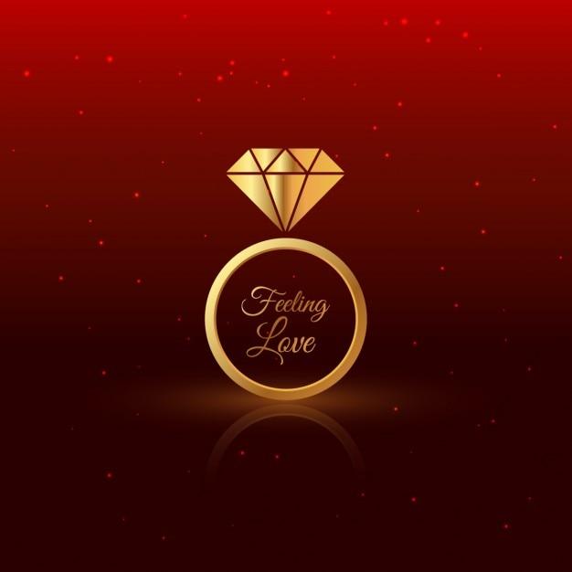 Gouden diamanten ring Gratis Vector