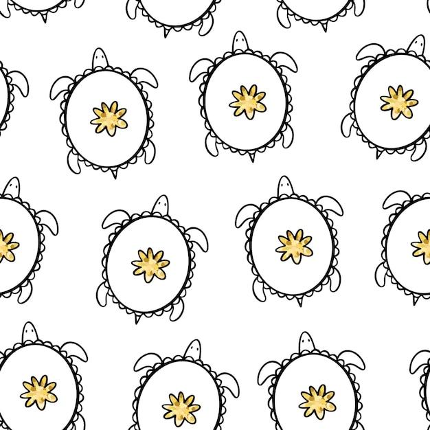 Gouden doodle schildpadden. vector naadloos patroon. Premium Vector