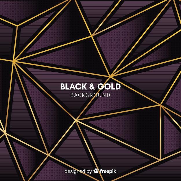 Gouden driehoekjes achtergrond Gratis Vector