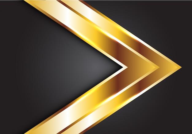 Gouden dubbele pijl op grijze luxe futuristische achtergrond. Premium Vector