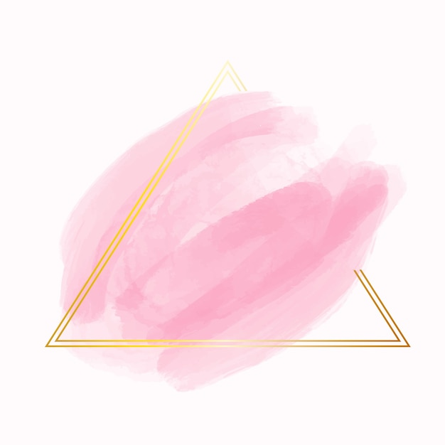 Gouden eenvoudig frame met waterverfvlek Gratis Vector