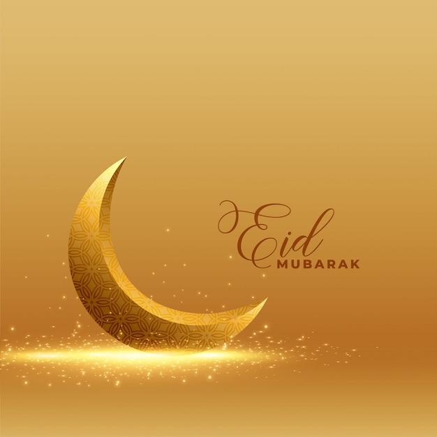 Gouden eid mubarak achtergrond met glanzende 3d maan Gratis Vector