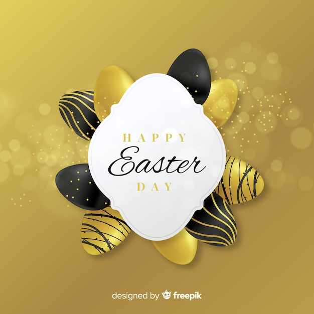 Gouden eierenframe pasen-dagachtergrond Gratis Vector