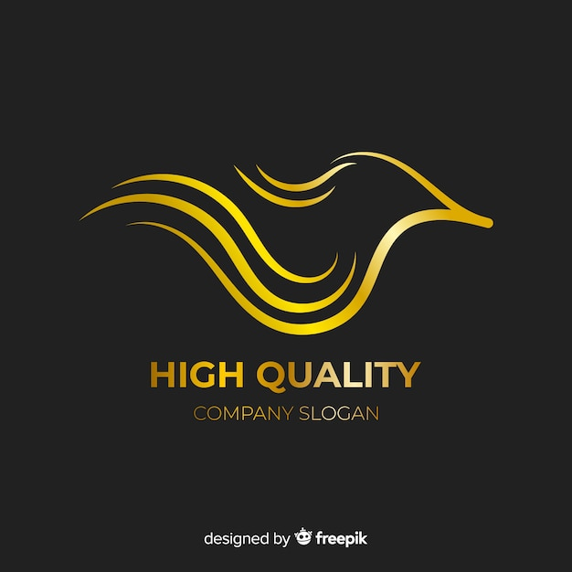 Gouden elegant logo plat ontwerp Gratis Vector