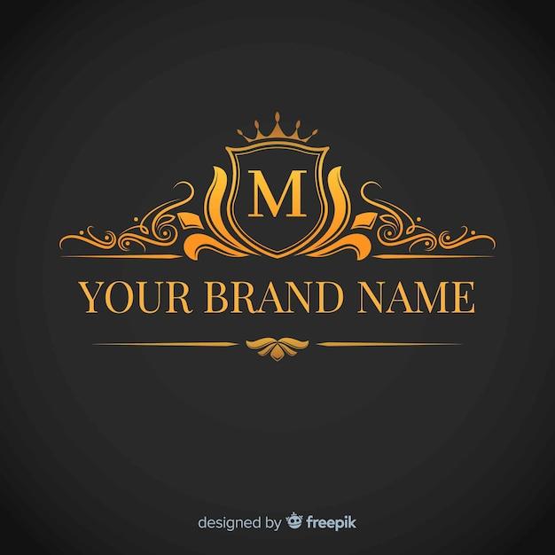 Gouden elegante corporatieve logo sjabloon Gratis Vector