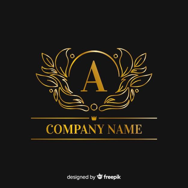 Gouden elegante hoofdletter logo sjabloon Gratis Vector