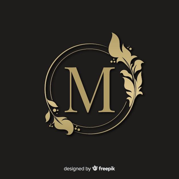 Gouden elegante logo met frame Gratis Vector