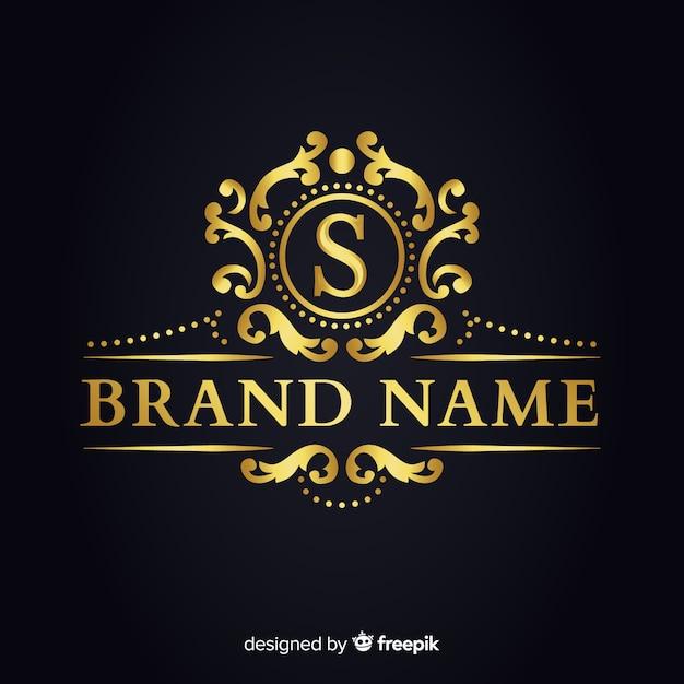 Gouden elegante logo sjabloon voor bedrijven Gratis Vector