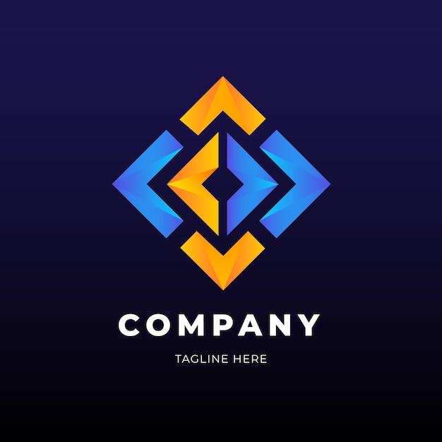 Gouden en blauwe diamantvorm logo business sjabloon Gratis Vector