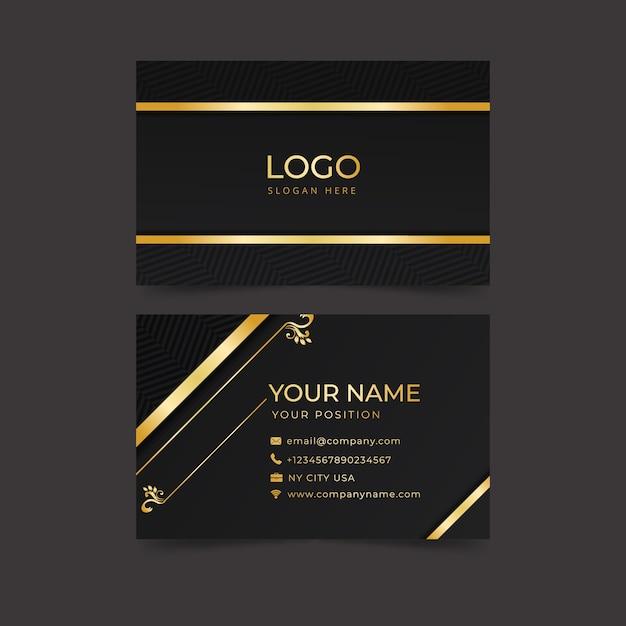 Gouden en blauwe elegante visitekaartjesjabloon Gratis Vector