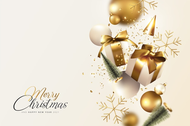 Gouden en crème realistische kerst achtergrond Gratis Vector