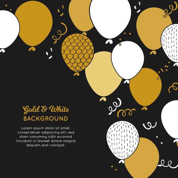 Gouden en witte ballonnen achtergrond Gratis Vector
