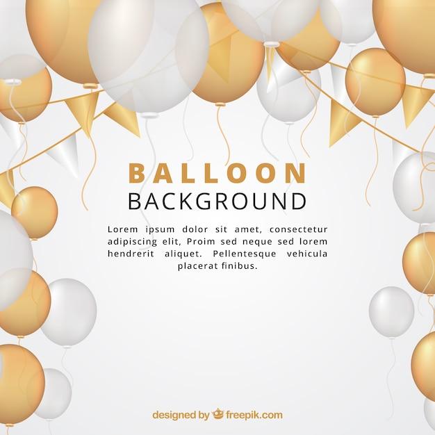 Gouden en witte ballonsachtergrond om te vieren Gratis Vector