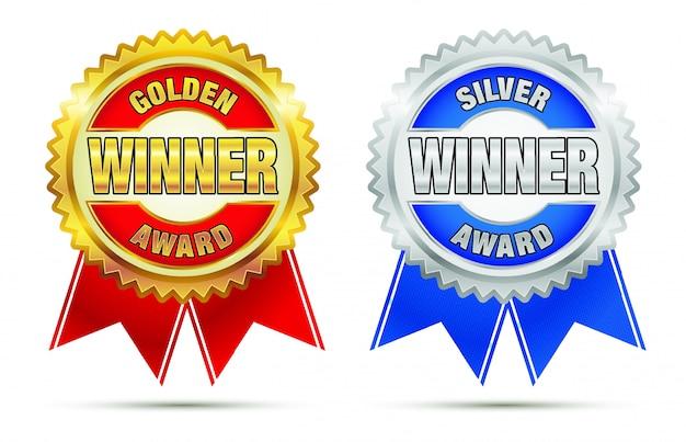 Gouden en zilveren awards Premium Vector