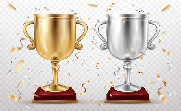 Gouden en zilveren bekers, sporttrofee, bekersglorie Gratis Vector
