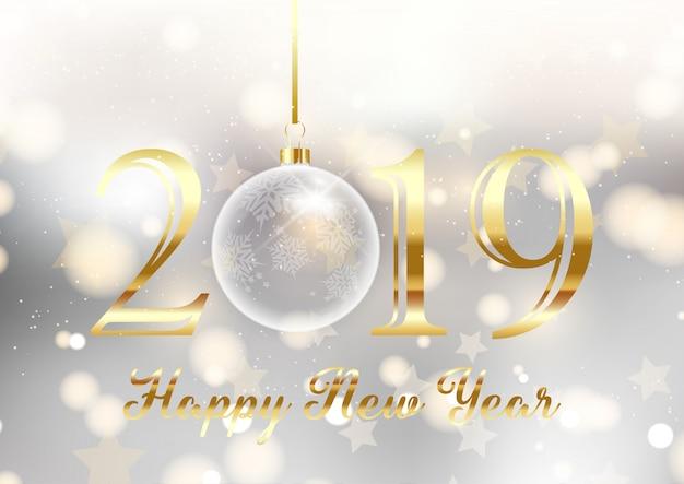 Gouden en zilveren gelukkig nieuwjaar achtergrond Gratis Vector