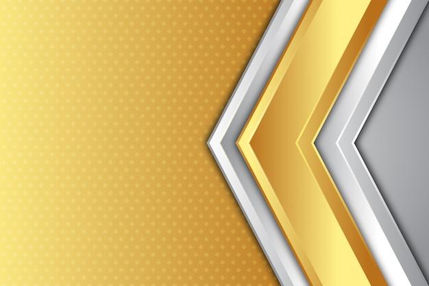 Gouden en zilveren pijl richting achtergrond Premium Vector