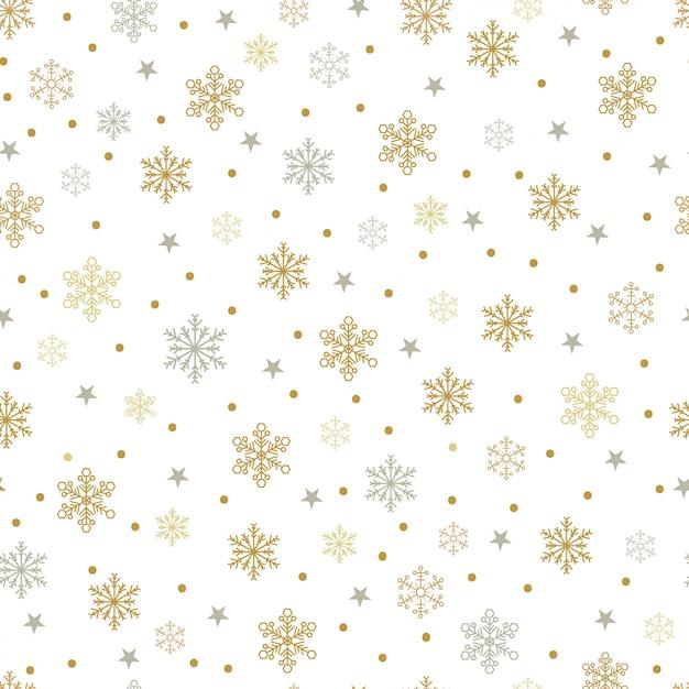 Gouden en zilveren sneeuwvlokken en sterren naadloos patroon Premium Vector