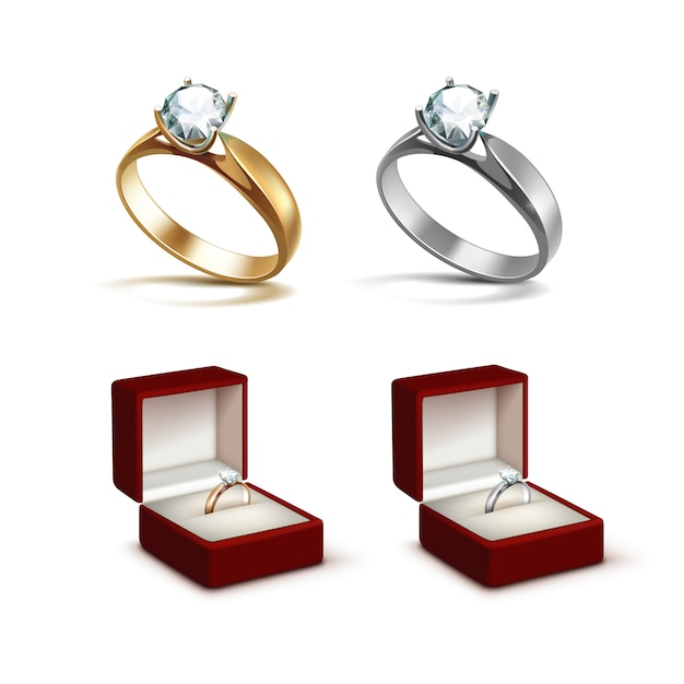 Gouden en zilveren verlovingsringen met witte glanzende heldere diamant in rode sieraden doos close-up geïsoleerd op een witte achtergrond Premium Vector