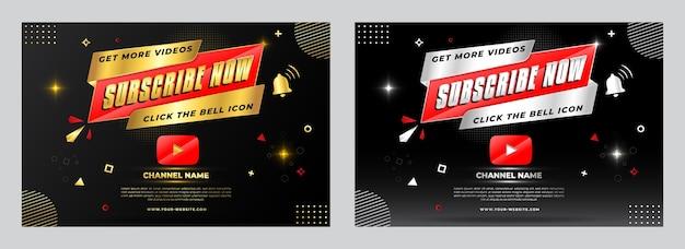 Gouden en zilveren youtube nu abonneren promotie bannerontwerp. verhoog het aantal youtube-abonnees. Premium Vector