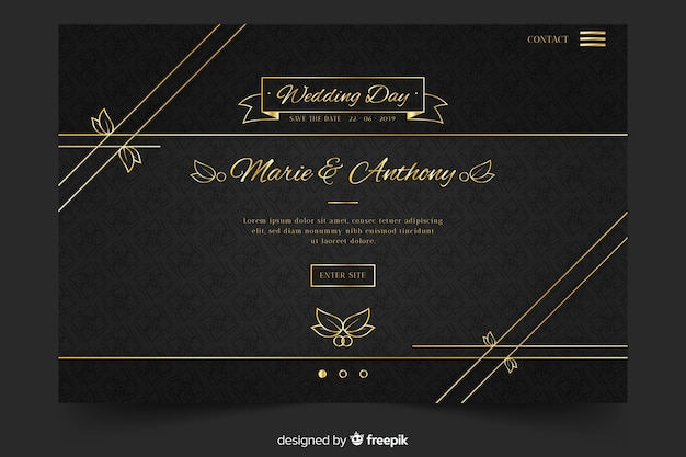Gouden en zwarte bruiloft-bestemmingspagina Gratis Vector