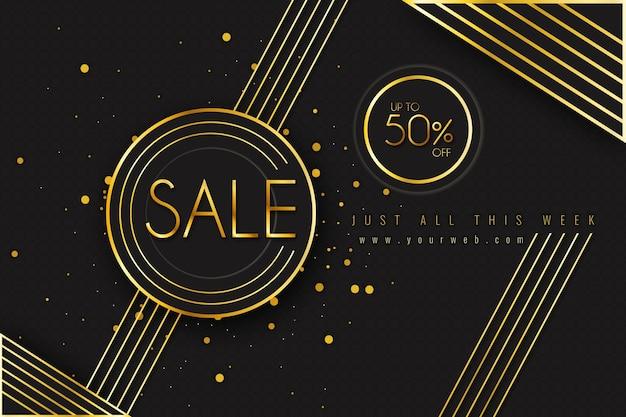 Gouden en zwarte luxe verkoop achtergrond Premium Vector