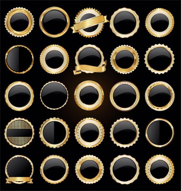 Gouden en zwarte retro verkoop badges en labels-collectie Premium Vector