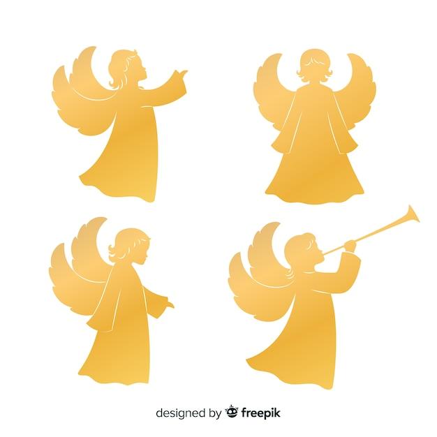 Gouden engelensilhouetten Gratis Vector